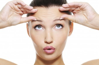 botox helping a female face with wrinkles on her forehead